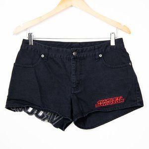 Harley Davidson Motorcycles VROOM black jean shorts, size 6